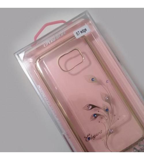 Калъф за Samsung S7 Edge силиконов гръб златен с кристали