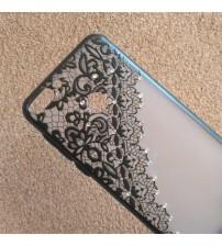 Калъф за Huawei P Smart гръб дантела с кристали