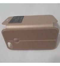 Калъф за Huawei P Smart тефтер с прозорче златен