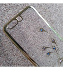 Силиконов калъф за Huawei P10 прозрачен пауново перо