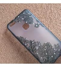 Калъф за Huawei P10 Lite гръб дантела с кристали