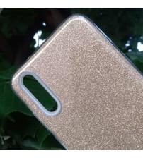 Калъф за Huawei P20 силиконов гръб златен брокат