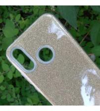 Калъф за Huawei P20 Lite силиконов гръб златен брокат