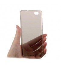 Калъф за Huawei P8 Lite прозрачен гръб smoked