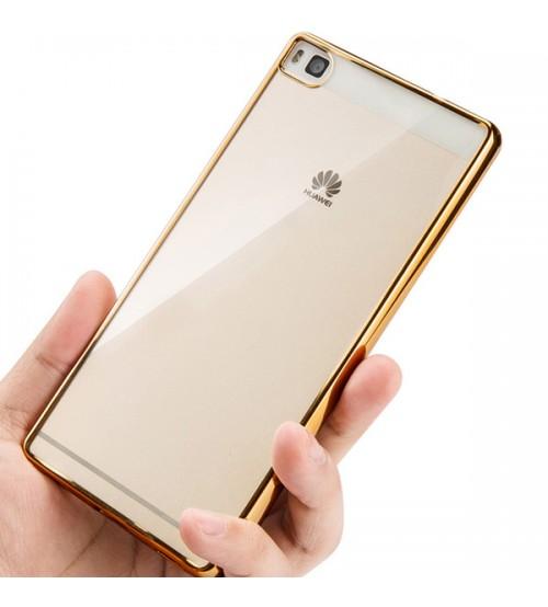 Калъф за Huawei P8 Lite силиконов със златна лайсна