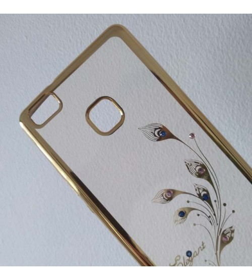 Калъф за Huawei P9 Lite силиконов гръб златен с кристали