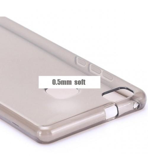 Калъф за Huawei P9 Lite прозрачен гръб smoked
