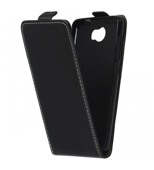 Калъф тефтер за Huawei Y6 II Compact черен Flexi