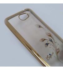 Калъф за Huawei Y6 II Compact силиконов гръб златен с кристали