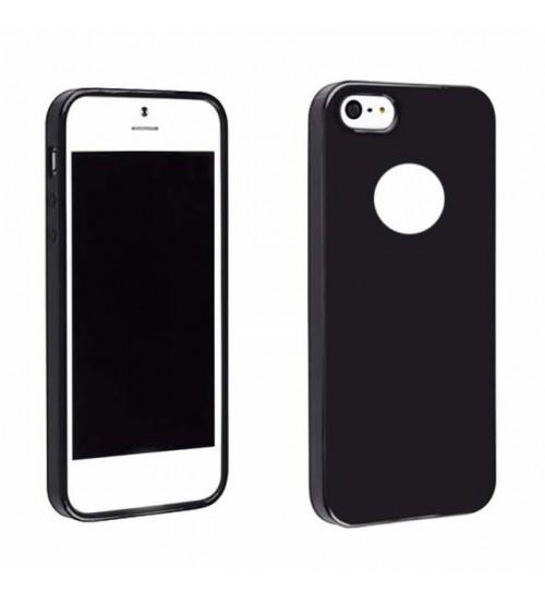 Силиконов калъф за iPhone 5s / 5 / SE черен гръб Lux