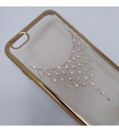 Силиконов калъф за iPhone 6/6s гръб златен с кристали