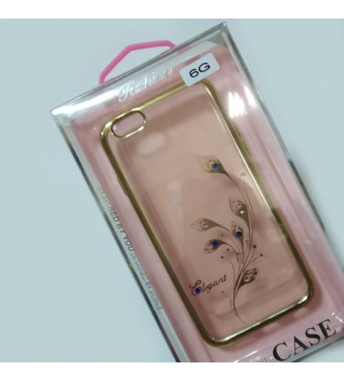 Силиконов калъф за iPhone 6 / 6s гръб златен с декорация