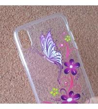 Калъф за iPhone X Flowers кейс прозрачен
