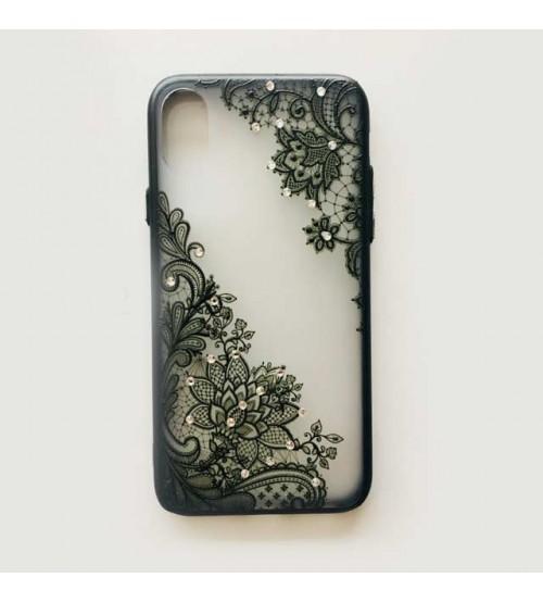 Калъф за iPhone X гръб дантела с кристали