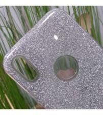 Силиконов калъф за iPhone X гръб сребрист брокат