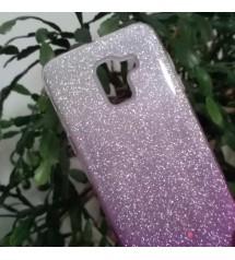 Силиконов калъф за Samsung J6 2018 гръб лилав брокат