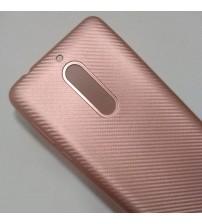 Силиконов калъф за Nokia 5 гръб карбон розово злато