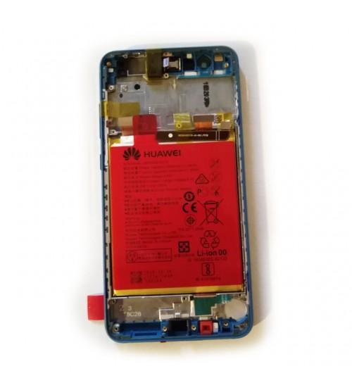 Дисплей с тъч + рамка и батерия за Huawei P10 Lite син