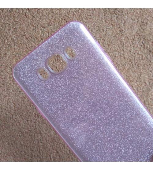Калъф за Samsung J7 2016 силиконов гръб розов брокат