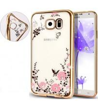 Силиконов калъф за Samsung S7 G930 златист гръб flowers