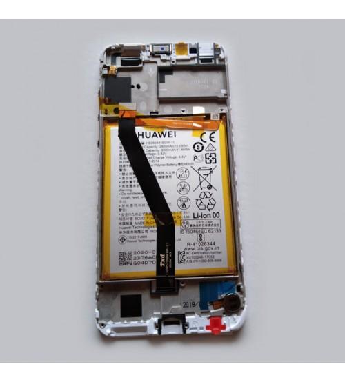 Дисплей с тъч + рамка и батерия за Huawei Y6 2018 бял